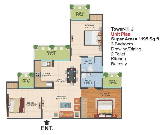 Ajnara Le Garden Phase II , GreaterNoida - Floor Plan