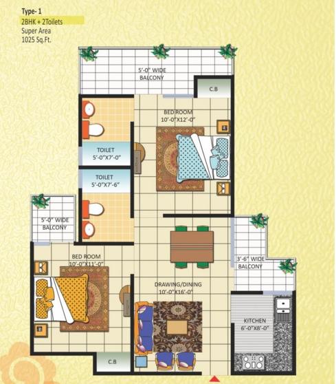 Bankey Bihari Aggarwal Heights, Ghaziabad - Floor Plan