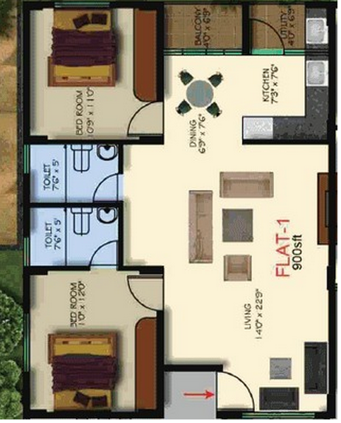 AK Fortune Residency, Bangalore - Floor Plan