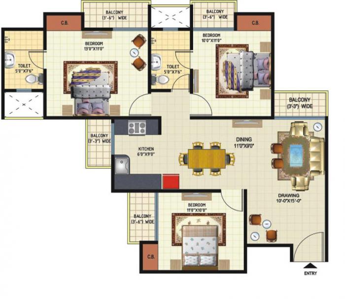 Amrapali Princely Estate, Noida - Floor Plan