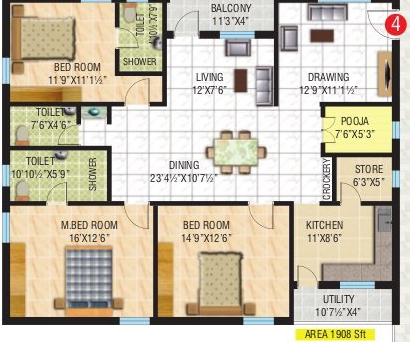 Royal Amritha, Chennai - Floor Plan