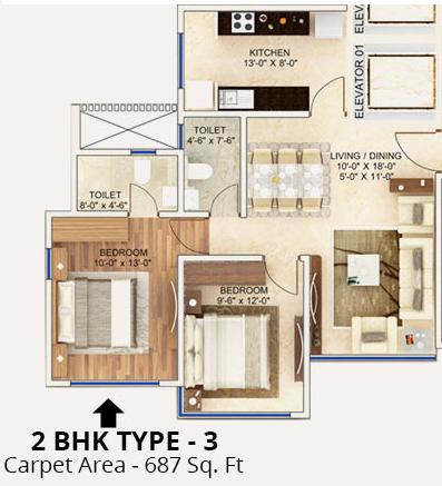 Man Aaradhya Residency, Mumbai - Floor Plan