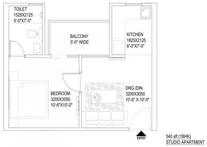 Earth Tech One Studio Apartment, GreaterNoida - Floor Plan