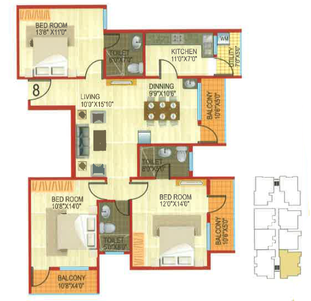 Ashish JK Apartments, Bangalore - Floor Plan