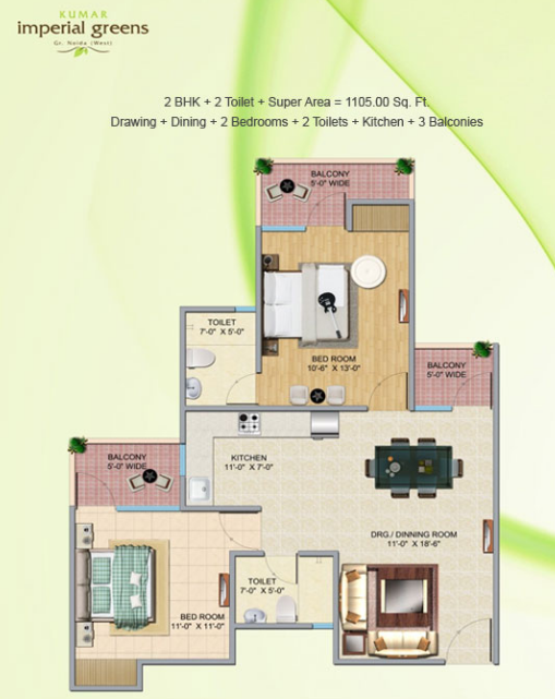 Keltech Kumar Imperial Greens, GreaterNoida - Floor Plan