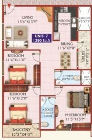 HSV Padmalaya Residency, Bangalore - Floor Plan
