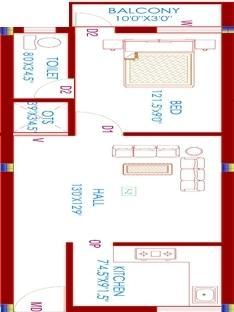 Aditi Kasturi Flat, Chennai - Floor Plan
