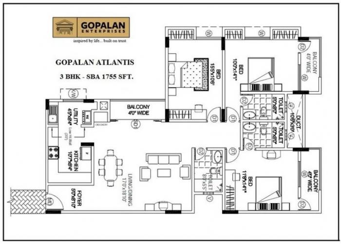 Gopalan Atlantis, Bangalore - Floor Plan