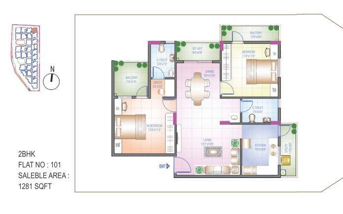 Sowparnika Blue Bells, Mysore - Floor Plan
