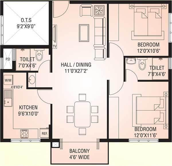 Rohan Zorion Apartments, Mangalore - Floor Plan