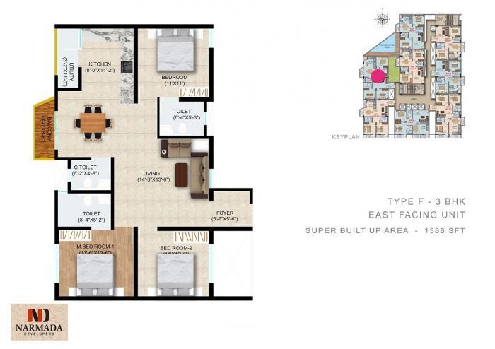 Narmada Sri Heights, Bangalore - Floor Plan
