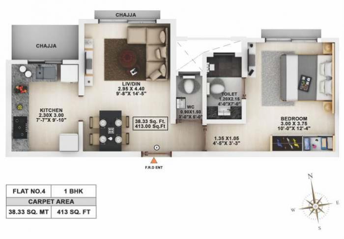 Lalani Velentine Apartment 1 Wing-D, Mumbai - Floor Plan