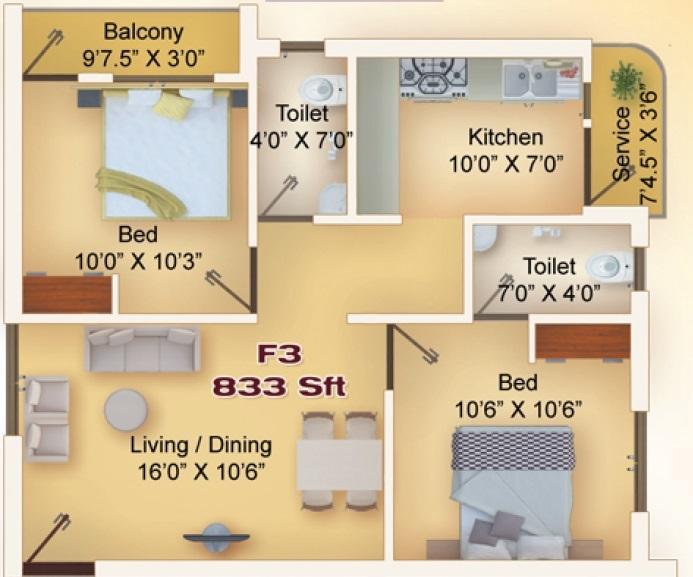 Grand Space Diya Homes, Chennai - Floor Plan
