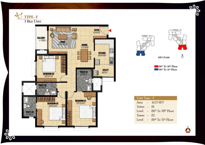 Prestige Valley Crest, Mangalore - Floor Plan