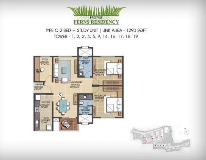 Prestige Ferns Residency, Bangalore - Floor Plan