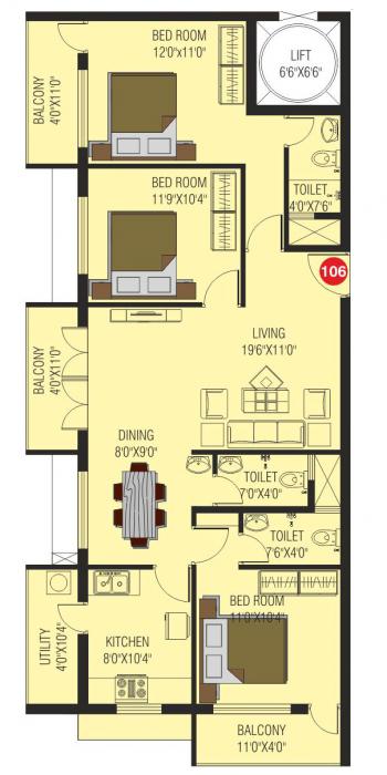 Walk In Arcadia Residency, Mangalore - Floor Plan