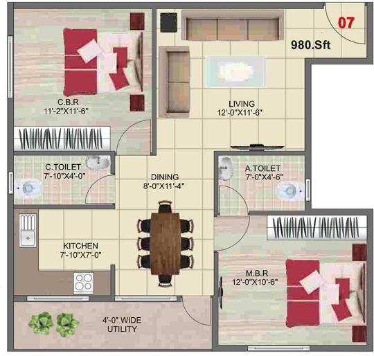 Sai Ashirwaadh Paradise Block 2, Bangalore - Floor Plan