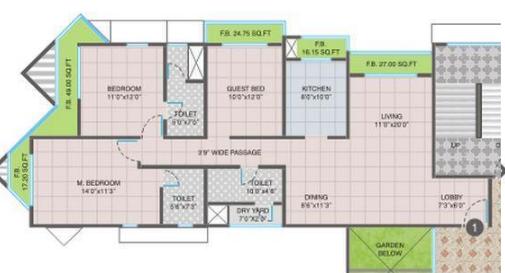 Nandivardhan Oasis Sapphire, Thane - Floor Plan