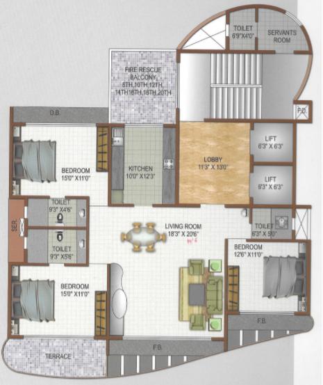 Ellora Glisten, NaviMumbai - Floor Plan