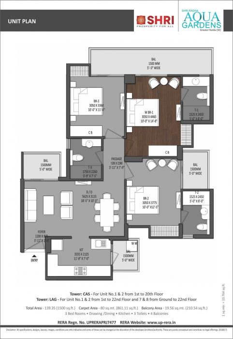 Shri Radha Aqua Gardens, GreaterNoida - Floor Plan