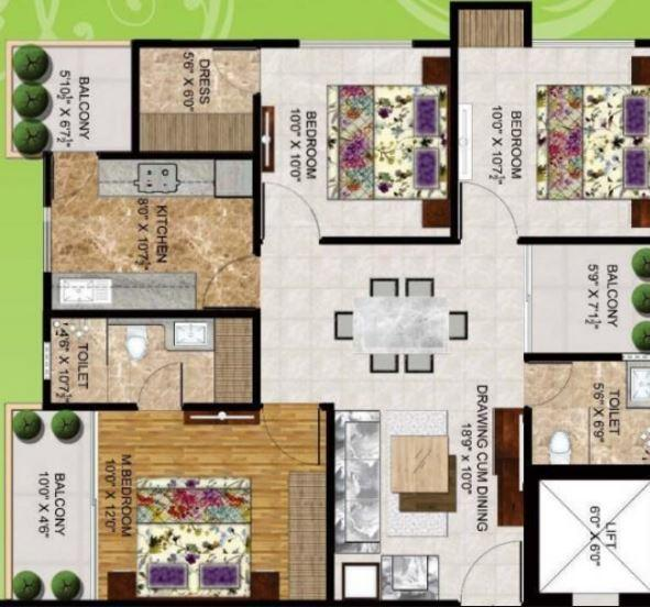 Dhairya Shivalik Tower, Lucknow - Floor Plan