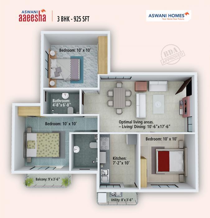 Aswani Aaeesha, Bangalore - Floor Plan