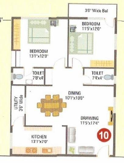 Varshitha Honey Dew, Bangalore - Floor Plan