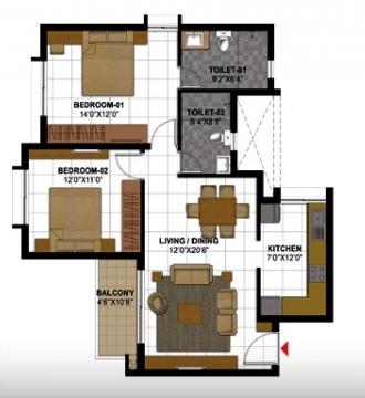 Prestige Gulmohar, Bangalore - Floor Plan