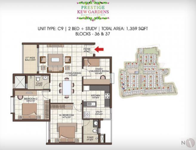 Prestige Kew Gardens, Bangalore - Floor Plan