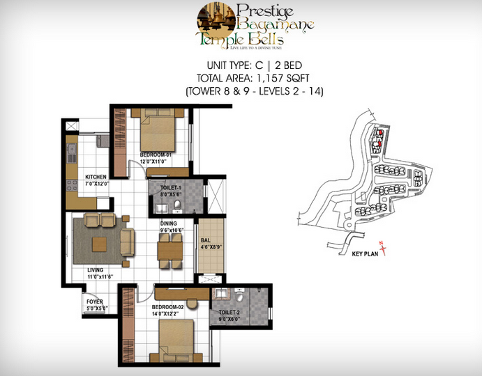 Prestige Bagamane Temple Bells, Bangalore - Floor Plan