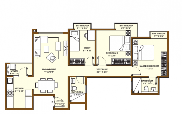 Bhartiya City Nikoo Homes, Bangalore - Floor Plan