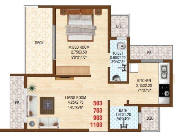 Krishna Sarang Galaxy, NaviMumbai - Floor Plan