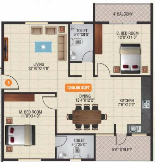 Raghavendra Bloom Fields, Bangalore - Floor Plan