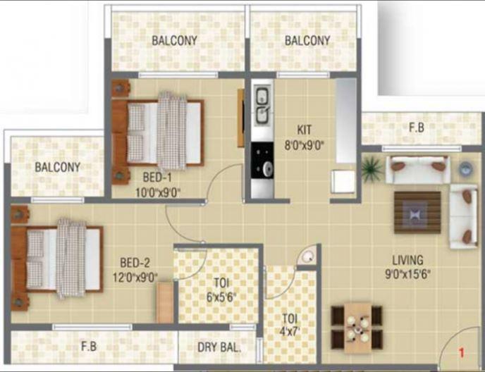 Baline Residency, NaviMumbai - Floor Plan
