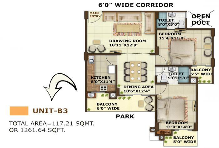 Srishti Imperial Heights, Allahabad - Floor Plan