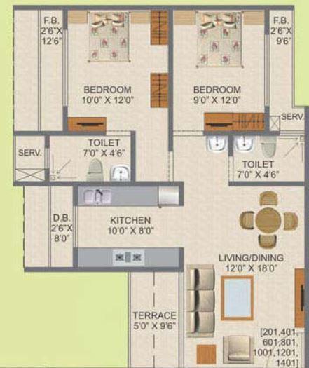 Kamdhenu Aura, NaviMumbai - Floor Plan