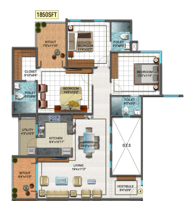 DSR Sunrise Towers, Bangalore - Floor Plan