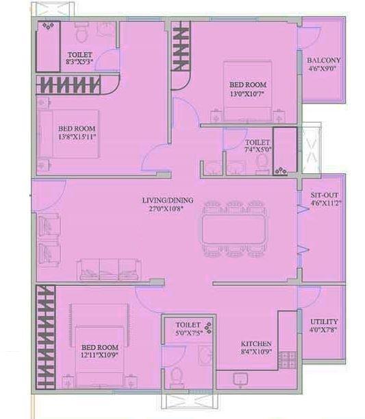 Mahaveer Zephyr, Bangalore - Floor Plan
