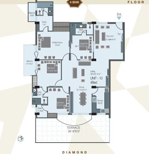 Atari Sapphire Apartments, Bareilly - Floor Plan