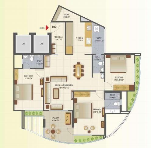 Classic Lake View Tower, Ahmedabad - Floor Plan