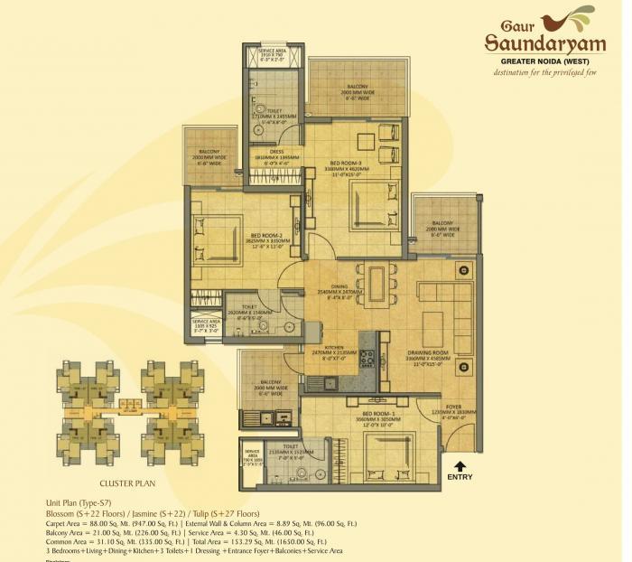Gaur Saundaryam, GreaterNoida - Floor Plan