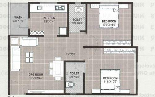 Vraj Galaxy Appartment, Ahmedabad - Floor Plan