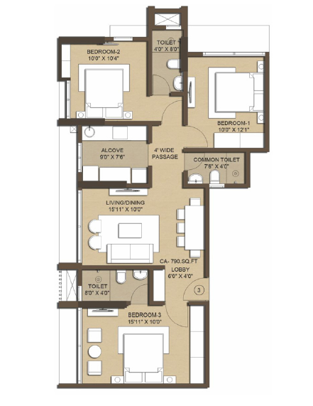 Jade Deluxe Apartments, Mumbai - Floor Plan