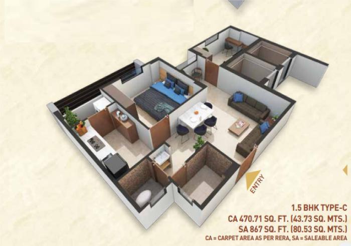 Bakeri Shaunak Apartments, Ahmedabad - Floor Plan
