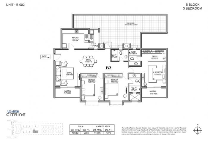 Adarsh Citrine, Bangalore - Floor Plan