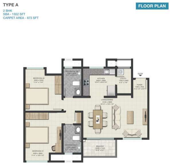 Sobha Lake Gardens, Bangalore - Floor Plan