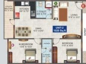 Vajra Pleasant, Bangalore - Floor Plan