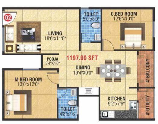 MBM Kamalanand Residency, Bangalore - Floor Plan