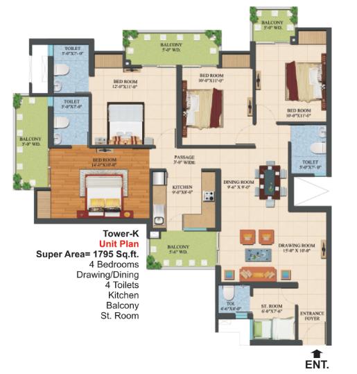 Ajnara Le Garden, Noida - Floor Plan