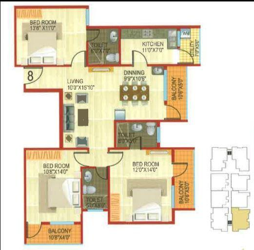 Ashish JK Apartments, Bangalore - Floor Plan